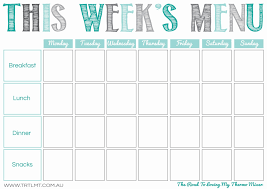Weekly Menu Blank Weekly Menu Printables and Menu 1