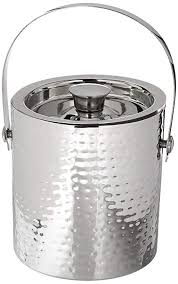 stainless steel ice bucket. Elegance Hammered 6-Inch Stainless Steel Ice Bucket With Tongs P