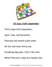thirty days hath september poem