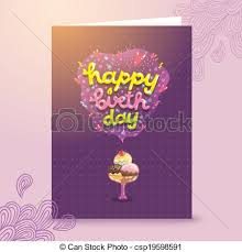birthday postcard template cute cartoon happy birthday postcard template with ice cream