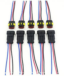 amazon com cnkf 10 sets 3 pin amp superseal car waterproof Marine Wiring Harness Connector Plugs at Pin Connector Plug Wire Harness