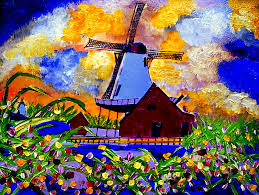 windmills of holland painting by ted hebbler