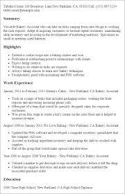 Sample Baker Resume Bakery Manager Job Description
