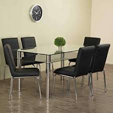 Home Centre Floris Faux Leather <b>Dining Chair</b> (Set of <b>6 Pcs</b>) (Black ...