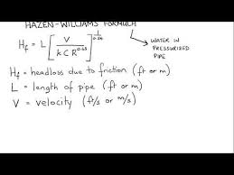 Hazen Williams Formula Pipe Flow Chart Application Of Hazen Williams Formula Youtube