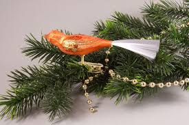 1 Vogel Eis Orange Baumschmuck Handgemacht