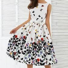New <b>2017 Women</b> Fashion Butterfly Floral <b>Vintage</b> Pleat Swing ...