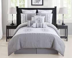 contemporary gray and white queen comforter set with ensembles