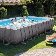 intex rectangular above ground pools. Contemporary Intex Amazoncom  Intex Rectangular Ultra Frame Pool Set 24Feet By 12Feet  52Inch Above Ground Swimming Pools Garden U0026 Outdoor And N