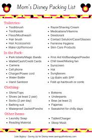 Moms Disney Packing List Free Printable