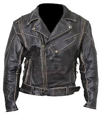 distressed black belted leather jacket mens