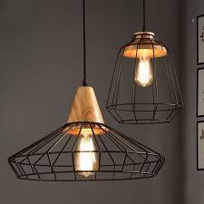 industrial loft black metal cage single light wood art pendant light cage lighting pendants