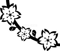 桜の半アーチ枝のお洒落飾り 白黒イラスト83170 素材good
