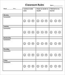 Weekly Behavior Chart Printable Printable Year Calendar
