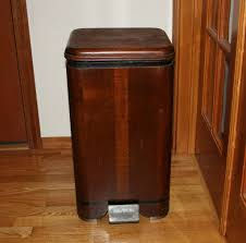 dark brown kitchen trash cans with bin step and laminate stain floor plus big wooden door
