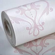 Geweven Damast Behang Roze Witte Zijde Muur Papier Voor Meisjes