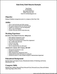 Resume Template Format Simple Gallery Of Comments General Office Clerk Resume Free Samples