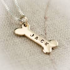 personalized dog bone necklace hand