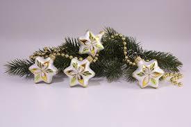 Neu 4 Sterne Eisweiß Gold Grün Christbaumschmuck Aus Lauscha