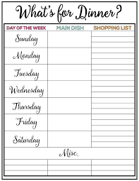 Weekly Meal Planer Weekly Meal Plan Printable Week 9 Meal Planning