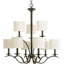 progress lighting inspire 9 light antique bronze chandelier with beige linen shade