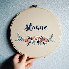 New Name Design Floral Baby Name Art Embroidery Hoop Custom Name Sign