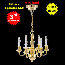 6 arms chandelier bright battery led lamp dollhouse miniature light 1 12 brass