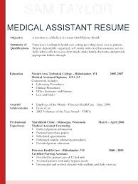 Example Of Resumes For Medical Assistants Medical Assistant Resume Objective Samples Successmaker Co