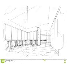 Interior design drawings perspective Office Sketch Interior Perspective Toilet Black And White Interior Design Dreamstimecom Sketch Interior Perspective Toilet Black And White Interior Design
