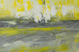 sky and sea by qiqigallery 36 x 12 abstract art yellow grey