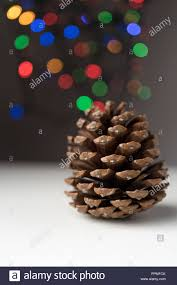 Christmas Tree Cone With Lights Round Conifer Cone With Defocused Colorful Christmas Tree