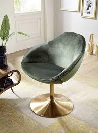 Wohnling Loungesessel Sarin Grüngold Wl5921 Aus Samt Und