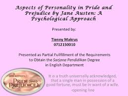 pride prejudice presentation  aspects of personality in pride and prejudice by jane austen a psychological approach it is