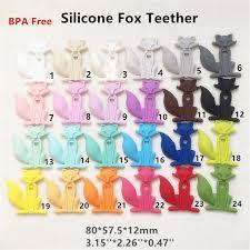 classic cartoon chenkai 5pcs bpa free safe silicone fox teether pendant diy nursing necklace baby pacifier