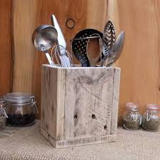 stove utensil holder. rustic kitchen utensil storage / holder - reclaimed wood box made from pallet available in 3 finishes. stove
