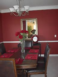 Wall & table colors for wine decorated dining room.
