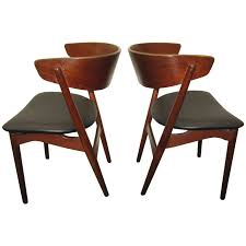 excellent pair of danish modern bentwood teak dining chairs for