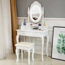 White Vanity Table With Lighted Mirror Details About White Vanity Set With Lighted Mirror Stool Drawer Women Makeup Dressing Table