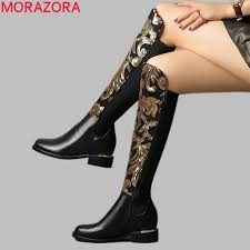 morazora size 34 42 hot 2018 genuine leather boots women autumn winter boots bling fashion stretch knee high boots las shoes