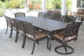 nassau 11pc outdoor patio dining set with 46 x 120 table series 3000 antique bronze