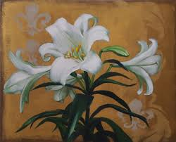 lily on gold 16x20 white flower original painting