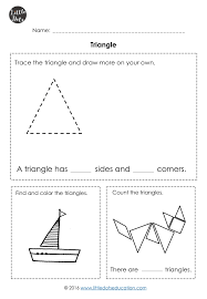 Free triangle shape worksheet for kindergarten. You will find the ...