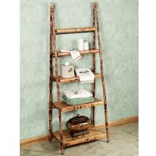 Scenic Vintage Style Bamboo Ladder Shelf For Storage Also Grey Wall Painted  In Country Interior Decorating Designs