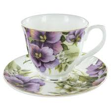 purple pansy bone china  cup and saucer  set of