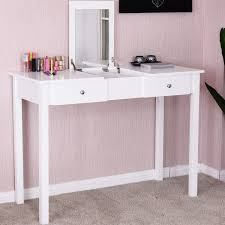 white desk with drawers and mirror. Exellent And Costway Vanity Table Dressing Flip Top Desk Mirror 2 Drawers  Furniture White Throughout With And W