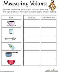 What Is Volume In Science Measuring Volume How Much Liquid Can It Hold Worksheet