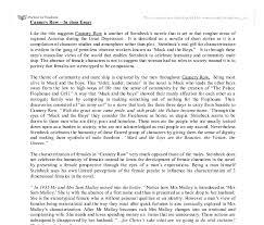 row essay cannery row essay
