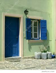 blue door house. Blue Doors, Front Door, Greek Building: A Traditional Style House With The Door
