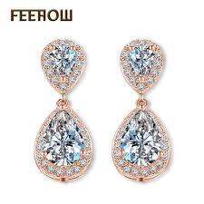 <b>2019 FEEHOW</b> Fashion Elegant Bridal Jewelry Rose Gold Color ...