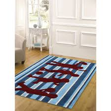 funky striped blue and burdy kids floor rugs